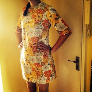 I copied the shape of a vintage mini dress I have to make this little number out of some retro Robert Kaufman fabric